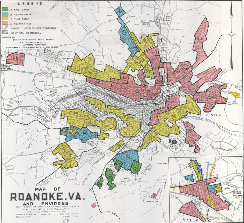 Redlining map of Roanoke, Virginia
