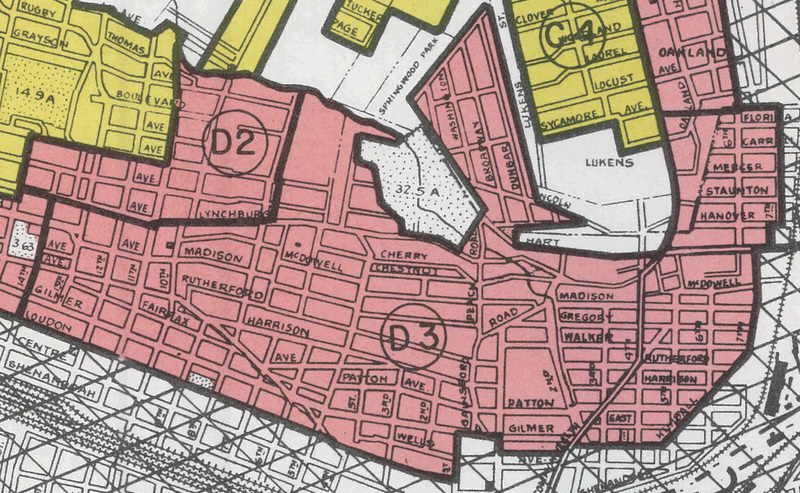 Loudon-Melrose neighborhood of Roanoke, section D3 on HOLC map