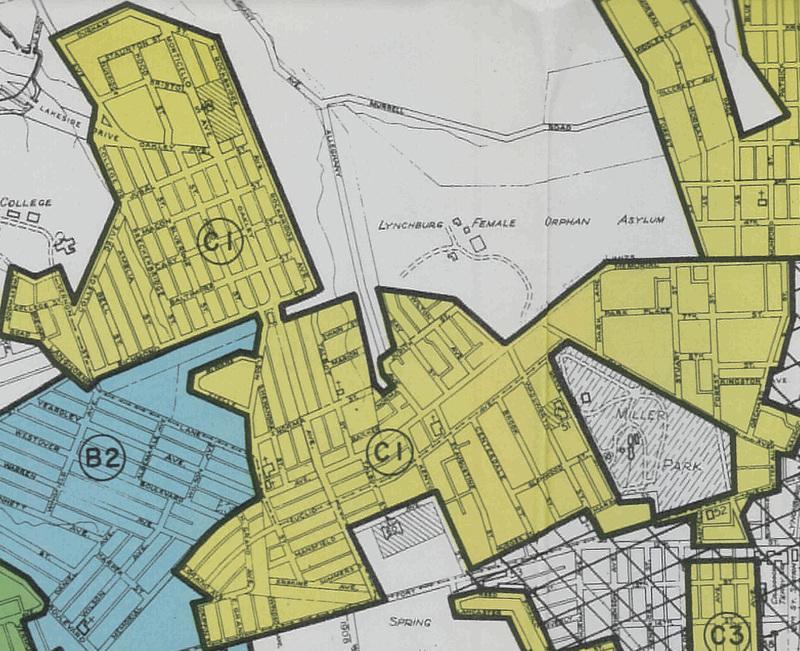 C1 redlining region of Lynchburg