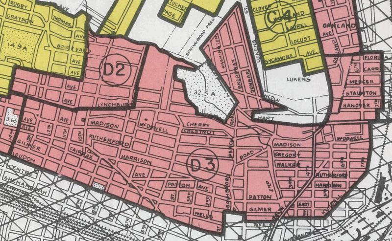 Loudon-Melrose neighborhood of Roanoke, section D3 on HOLC map
